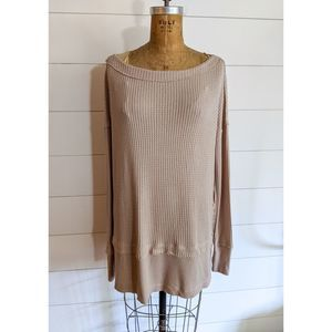 Free People North Shore Thermal Top in Sand XS